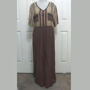 Carole Little 10 brown plaid rayon maxi dress